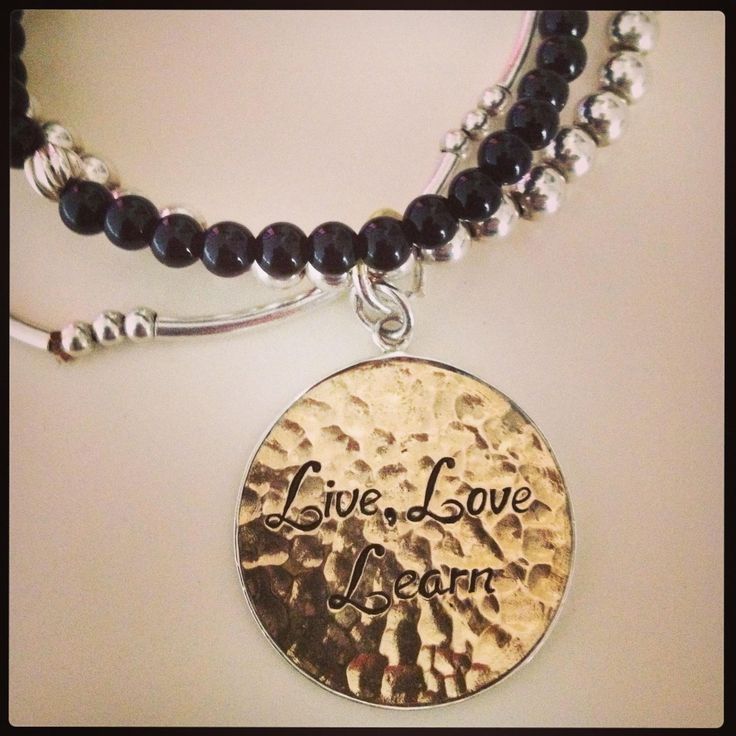 "Sterling silver and brass handmade ""Live, Love Learn!"""