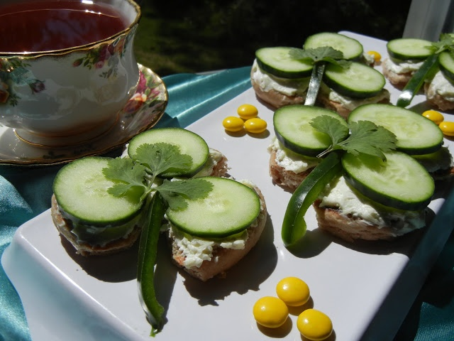 Shamrock Cucumber Tea Sandwiches Recipe shredded Monterrey Jack cheese cream cheese whole
