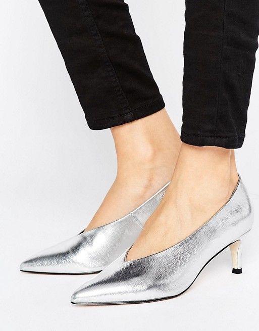 ASOS Silver Kitten Heels $38.00