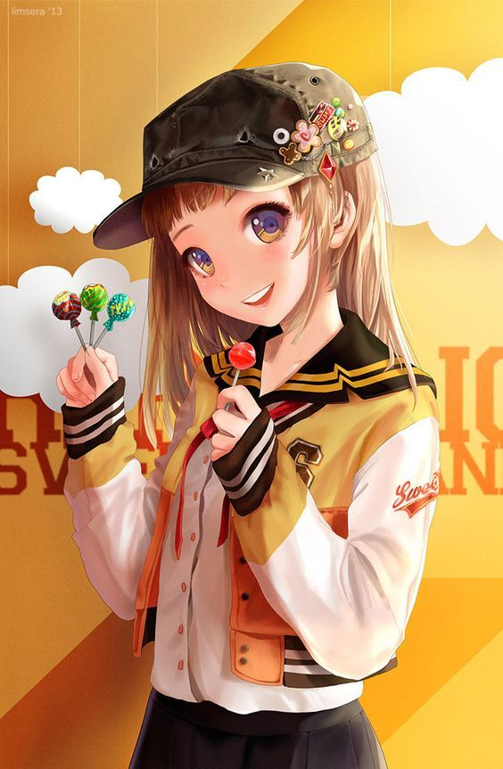 ✮ ANIME ART ✮ food. . .lollipops. . .candy. . .sweets. . .hoodie. . .hat. . .buttons. . .smile. . .cute. . .kawaii: