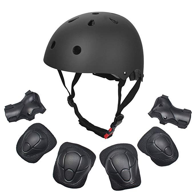 Dostar Kids Youth Adjustable 7Pcs Sports Protective Gear Set Safety Pad  Safeguard (Helmet Knee Elbow Wrist) Roller Bicycle BMX Bike Skateboard  Hoverboard and Ot…
