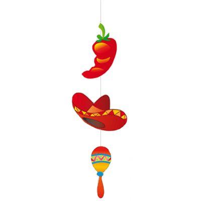 Mexicaanse fiesta hangslinger. Deze Mexicaanse fiesta hangslinger is ongeveer 100 x 28 cm en bestaat uit een peper een sombrero en een sambabal. Bestel deze Mexicaanse fiesta hangslinger direct uit voorraad in onze slinger winkel.