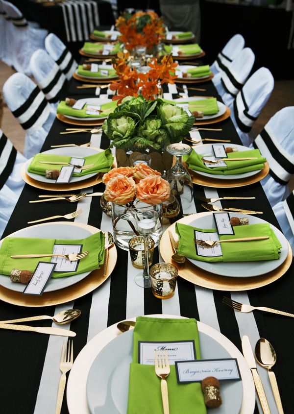 Fresh & Sophisticated Dinner Party {Black, White & Gold} Use a striped table runner or boldly striped gift wrap as a runner.