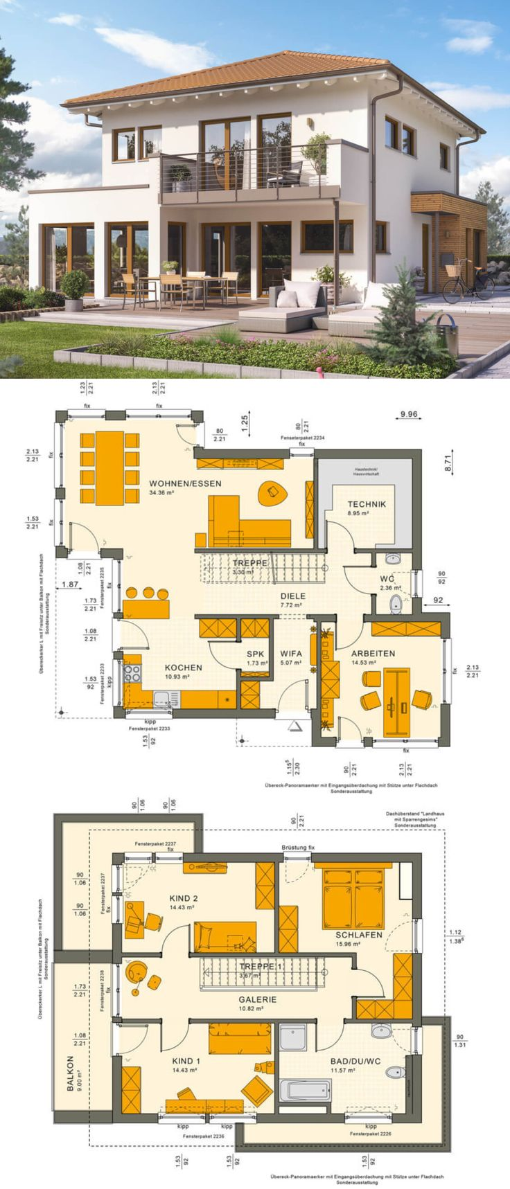Urban villa Mediterranean country house with hipped roof Architecture & bay window with loggia – Single-family house building Ideas Floor plan Prefabricated house Sunshine 144 V6 Living Haus – HausbauDirekt.de