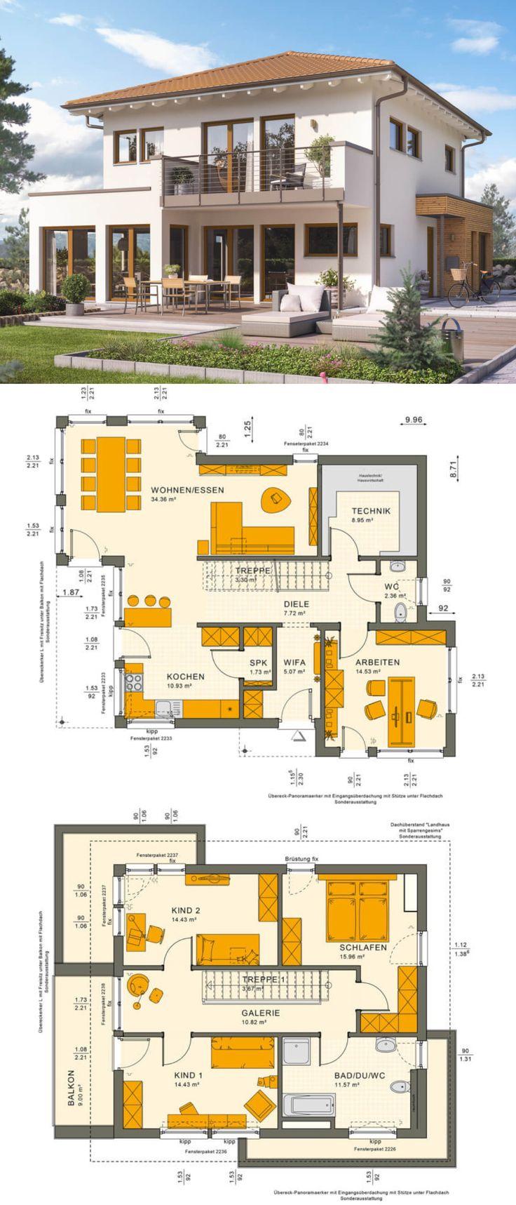 Stadtvilla Landhaus mediterran mit Walmdach Archit…