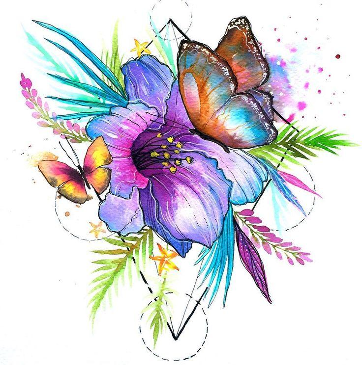 💖🌸 @clerilustracion para el @jardinbotanicodemedellin , inspirada en el mariposario .  .  .  .  .  .  .  #clerilustracion #illustration #popsurrealism #geometric #flowers #butterfly #tropical #watercolor #ink #orquidea #medellin #colombia#nature #floral#f4f
