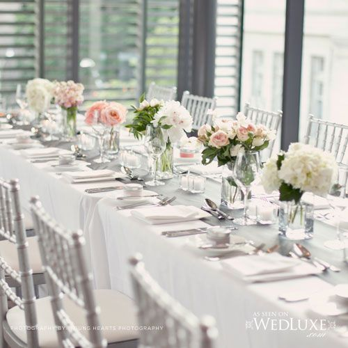 Gardiner Museum, long tables and low centerpieces