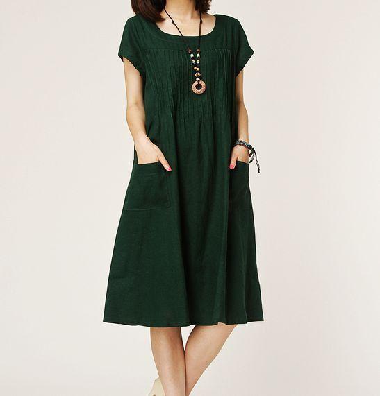 Dark green linen dress maxi dress short by originalstyleshop, $59.00