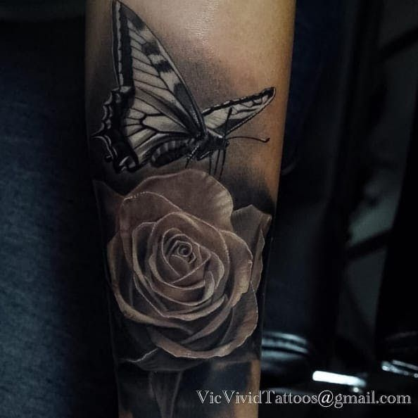 A Monarch Butterfly Alighting On A Black And Grey Rose By Vic Vivid Ig Vicvivid Rose And Butterfly Tattoo Wrist Tattoo Cover Up Black And Grey Rose Tattoo