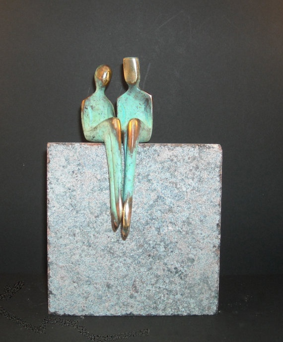 ME and YOU, romantic bronze sculpture by Yenny Cocq