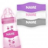 can't forget to order the personalized pacifiers and these cool bottle bands. great for daycares or play dates. no confusion!