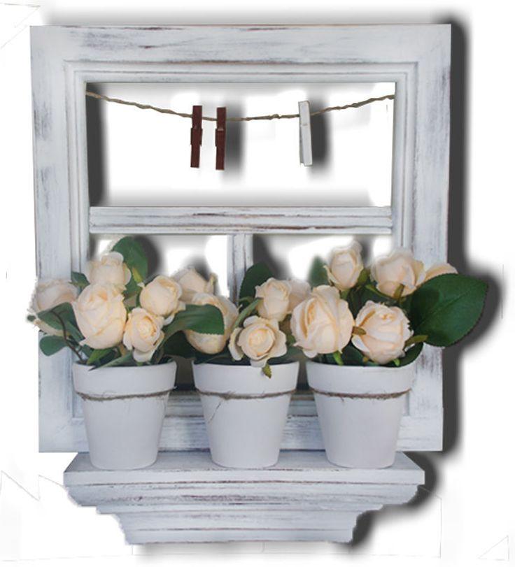 Панно Деревенское окно. Имитация деревенского окошка с горшками палевых роз на подоконнике - чудесный подарок для любителей интерьера в деревенском стиле.