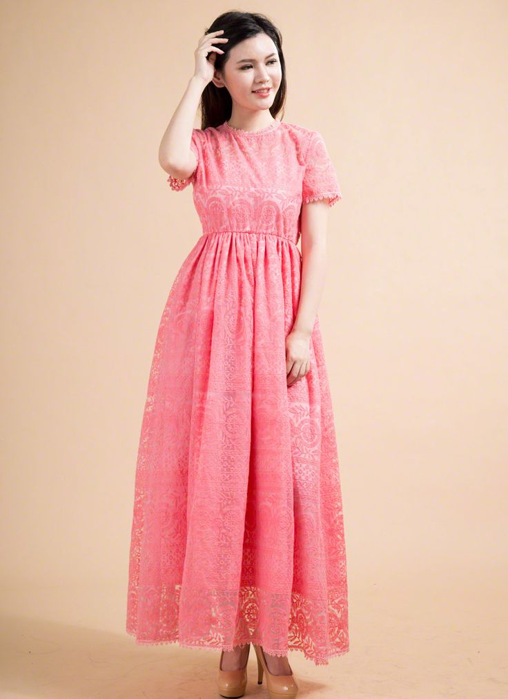 Coral Embroidered Organza Lace Maxi Prom Dress with High Waistline