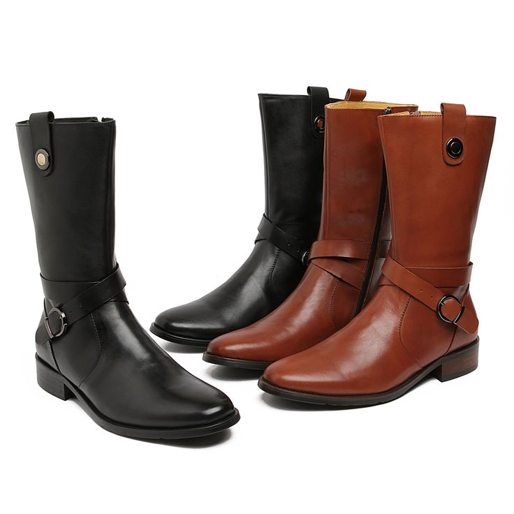 >> Click to Buy << Large size EUR45 fashion knee high black / white mens boots Motorcycle boots genuine leather mens winter boots with buckle #Affiliate
