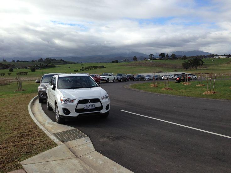 The procession of Mitsubishi's. I was driving the Evo X MR