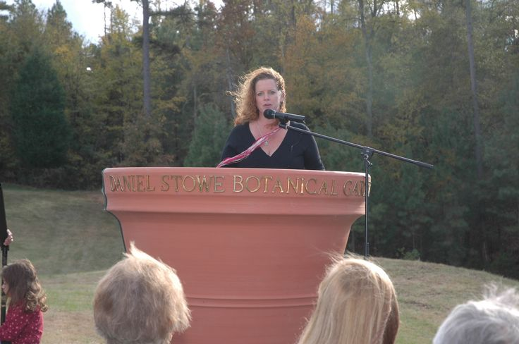 Executive Director Kara Newport addresses the crowd during the ground breaking ceremony for Lost Hollow: The Kimbrell Children's Garden.