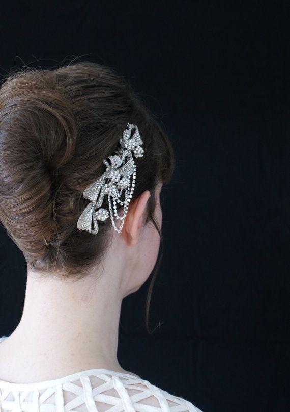 Wedding Hair comb -  Crystal side headpiece-  Hollywood glamour Bridal Accessory - 1940s headpiece, 1960s Headpiece -  Uk