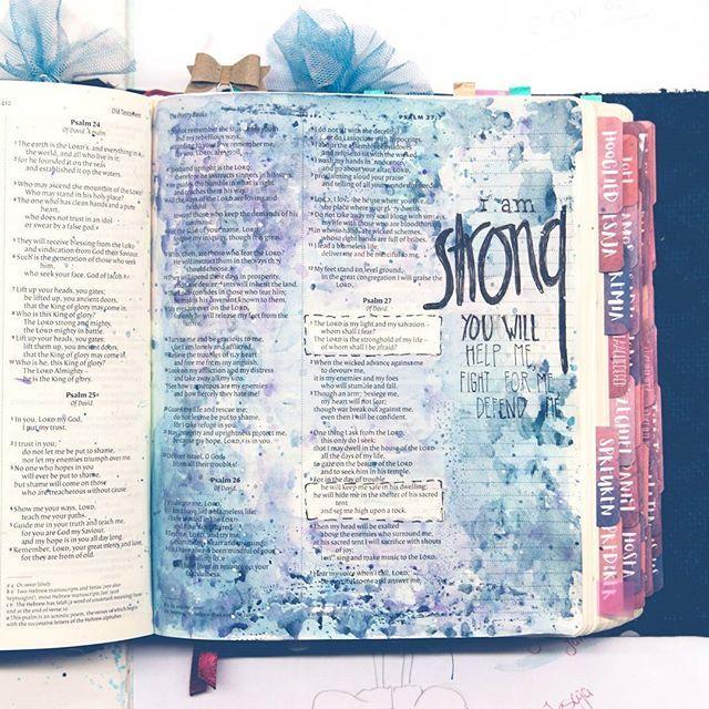 I am strong! . . .  #art #ikmetliefde #finished #aquarelle #aquarel #windsorandnewton #pencil #biblejournaling #biblejournalingnl #bibleart #kleurjebijbel