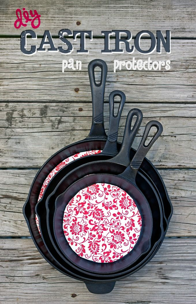 DIY Cast Iron Pan Protector - super easy and affordable way to keep your pans clean and seasoned.