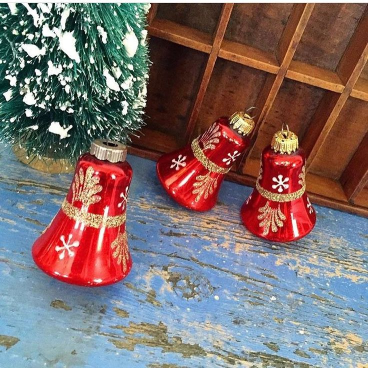 $6 + ship | Vintage set of three red bells with glittered designs. Measure 3 inches and marked West Germany.