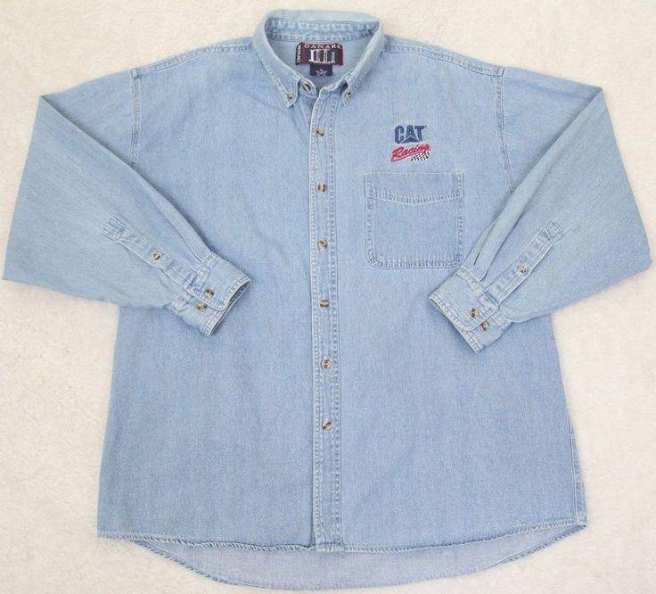 Denim Jeans Dress Shirt Danare Cat Racing Long Sleeve XL Extra Large Pocket Mens #Danare #ButtonFront