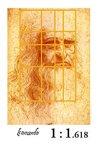 Leonardo Da Vinci Self Portrait Golden Mean Poster