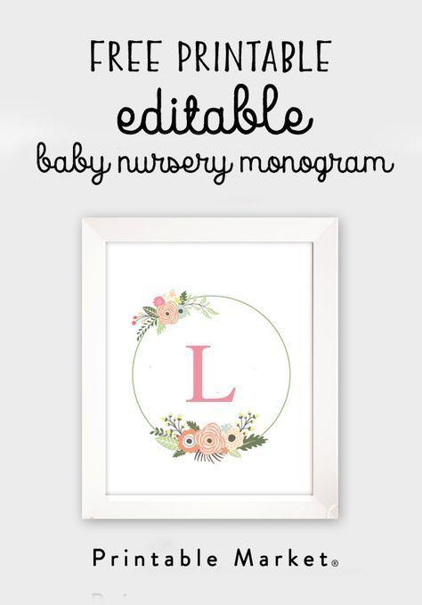 Frei bearbeitbare Monogramm Baby Kinderzimmer Dekor Kranz PDF druckbare Instant Download