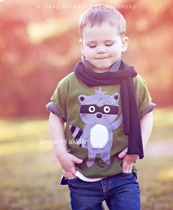 Raccoon Shirt Boys Minky Applique Tee Olive 2T 4T 6T 8 by Aidille, $32.00