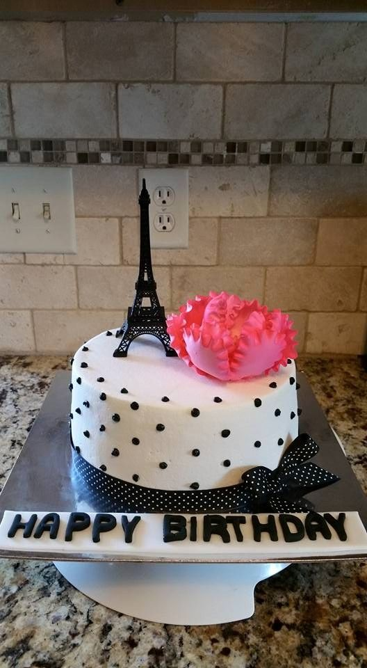 Paris Theme--Black and White Polka Dots--Hot Pink Peony- I made this cake for my Daughters Birthday..