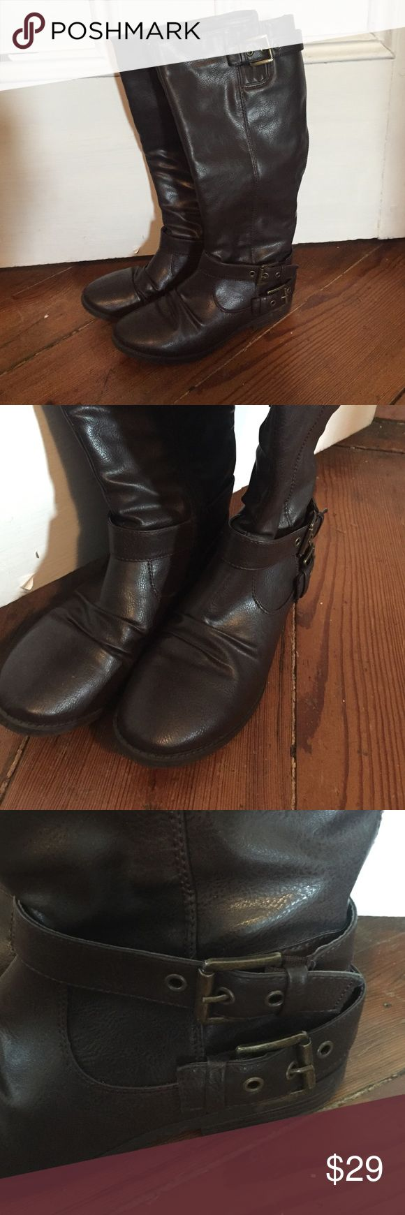 Fall Riding Boots Double buckle, comfy, zips up Shoes Combat & Moto Boots