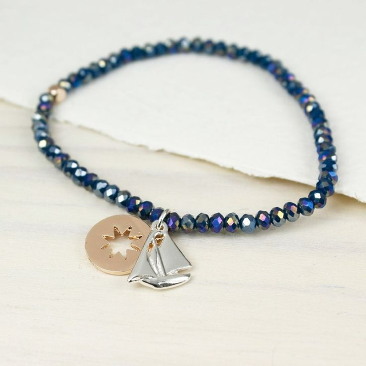 'Peace of Mind' Blauwe kralen rekarmband met ster en zeilboot