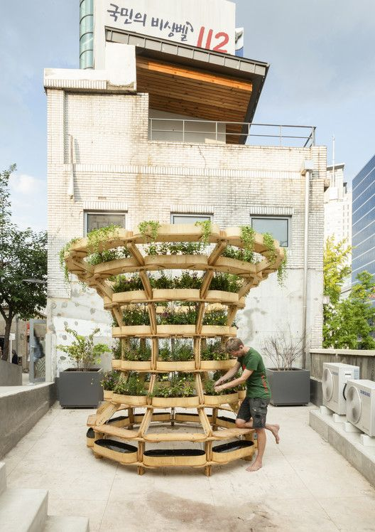 Estrutura modular de madeira permite diversas configurações para o cultivo de plantas