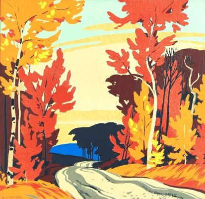 Lot #37 ALFRED J. CASSON Fall Roadway silkscreen on card signed lower left 10.5 x 11 ins ( 26.7 x 27.9 cms ) Closes September 25th at 02:00:00 PM CDT - See more at: http://www.consignor.ca/artwork/AW25888#sthash.yQF3WuFE.dpuf