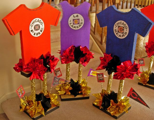 Image detail for tall sports centerpieces made with for Athletic banquet decoration ideas