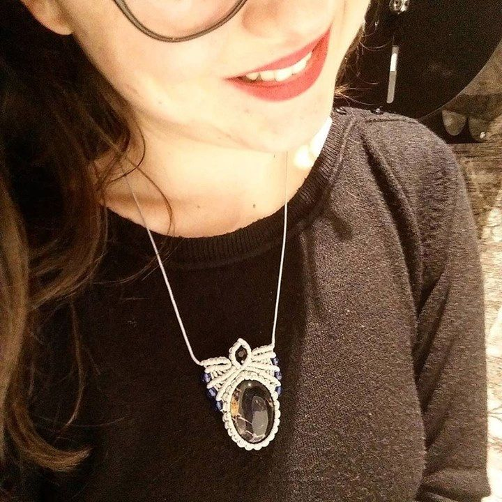 Macrame necklace with Blue Sodalite Gemstone and crystal beads _ @lsdworkshop