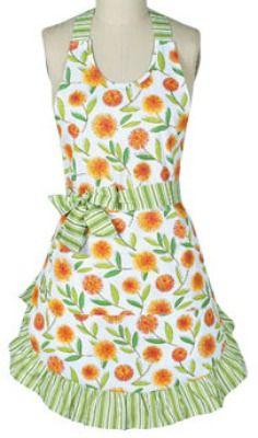 Yellow Floral vintage apron