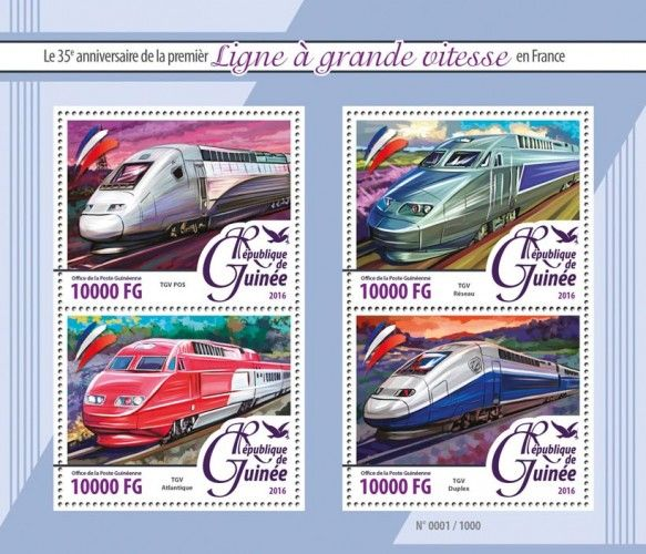 GU16110a High speed trains (35th anniversary of the first high speed line in France, TGV POS, TGV Réseau, TGV Atlantique, TGV Duplex)