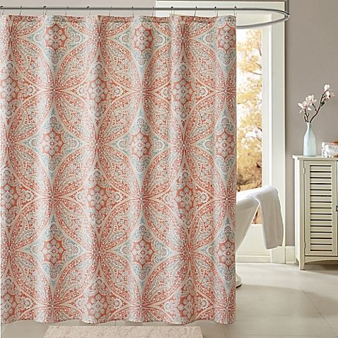 Madison Park Grace 72 Inch Shower Curtain In Coral Purple
