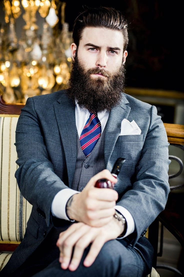 so handsome ! full thick dark beard and mustache beards bearded man men mens' style fashion suit suits tie dapper clothing clothes pipe bearding #sharpdressedman #beardsforever