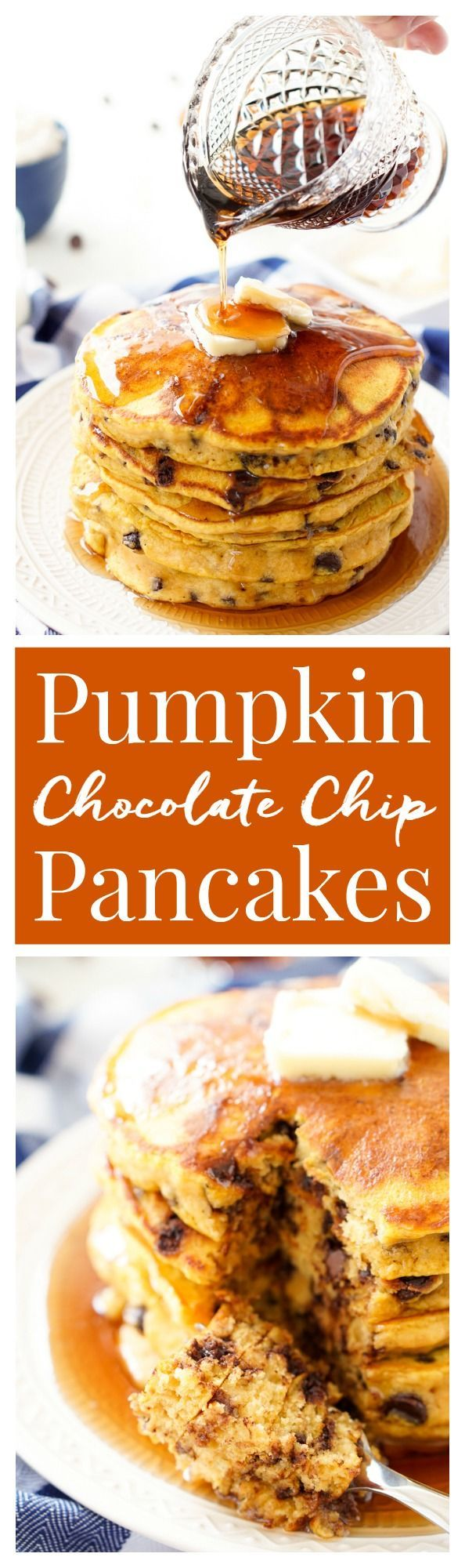 These Pumpkin Chocolate Chip Pancakes taste just like the classic fall cookie, except in this case you can drench them in maple syrup, smother them in butter, and eat them for breakfast!