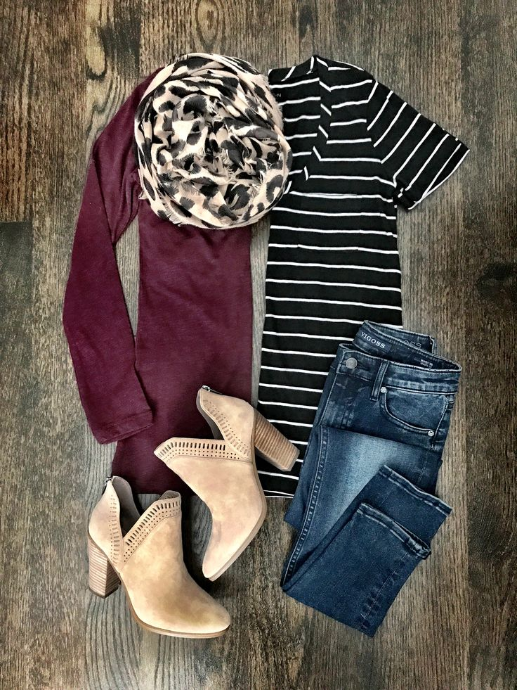 Fall outfit | Burgundy cardigan, stripe top, leopard scarf, jeans, & booties