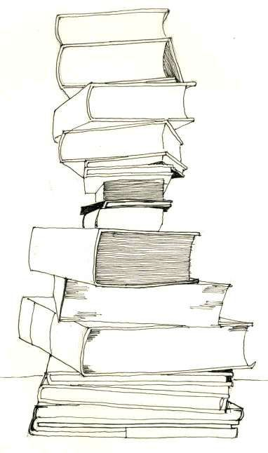 stack of books tattooed on my spine