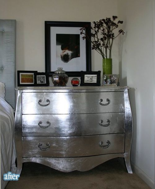 silver, hmmmm maybe a great idea for my daughter's cabinet to go in her new zebra with fuschia bedroom..= D