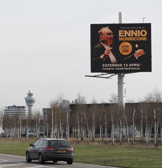 Film music conducted by Ennio Morricone live in Ziggo Dome. Kijk voor kaarten op www.ticketmaster.nl   Ook een concert aankondignen? www.interbest.nl #interbest #kingsize #billboard #billboards #buitenreclame #ooh #snelwegreclame #schiphol #amsterdam #airport #marketing #concerten #ziggodome #ticketmaster #ennio #enniomorricone #led #megaled #thewow