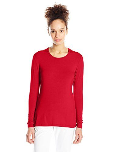 Cherokee Women's Long Sleeve Knit Underscrub Tee, Red, Large  Special Offer: $12.98  233 Reviews Modern classic fit, comfy, long sleeve, crew neck knit underscrub tee looks great as a layering piece or worn on its own. Center back length: 26 inchModern classic fitComfy, long...