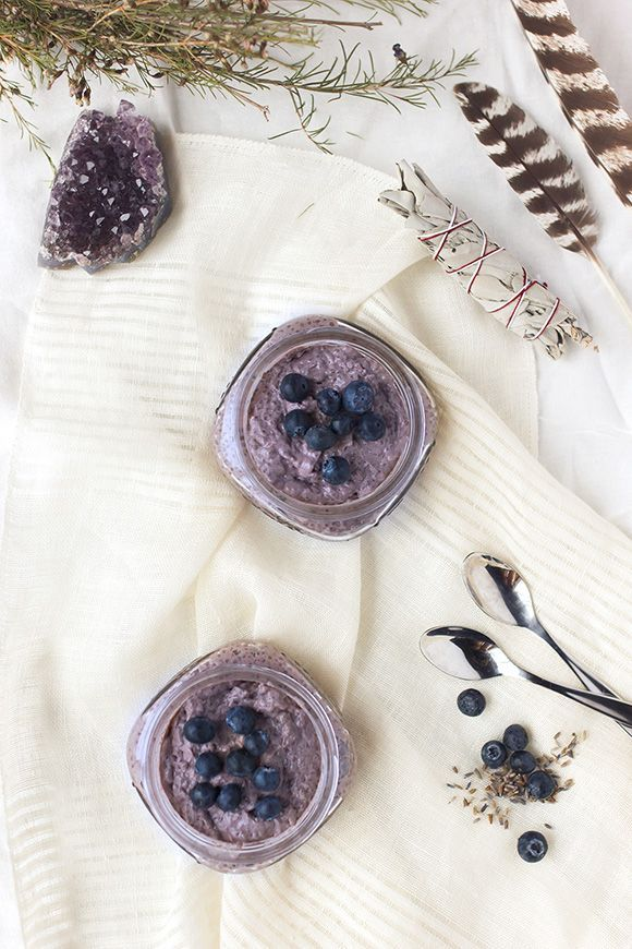What a delicious snack or breakfast! Blueberry Lavender Chia Seed Pudding. Plus, it's gluten-free and vegan!