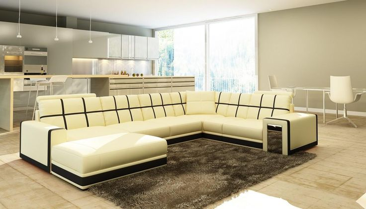 VGEV5078-Divani Casa 5078 Beige and Black Bonded Leather Sectional SofaFinishing:Beige and BlackBonded LeatherDimensions:Chaise: W65 Sectional Sofa Sale for $2369