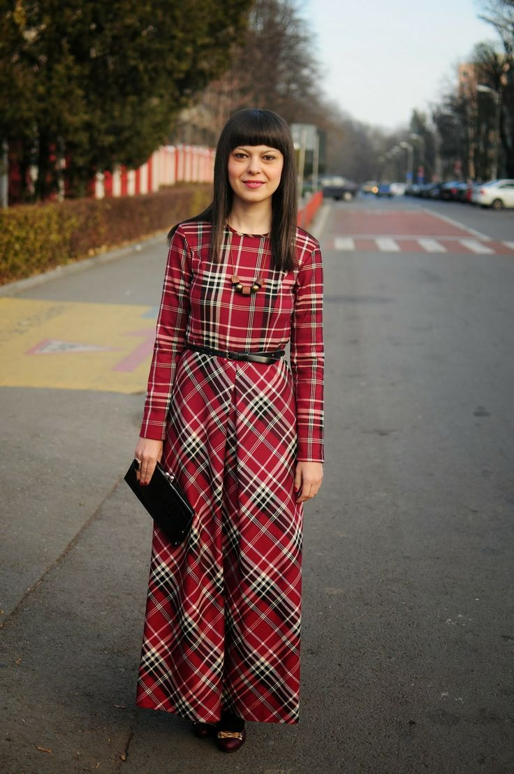 Long plaid dress for christmas lady in red pinterest