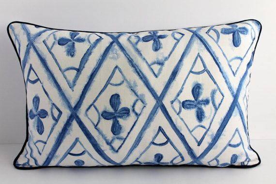 Blue and White Cushion Cover made with by cushioncoversbykatie