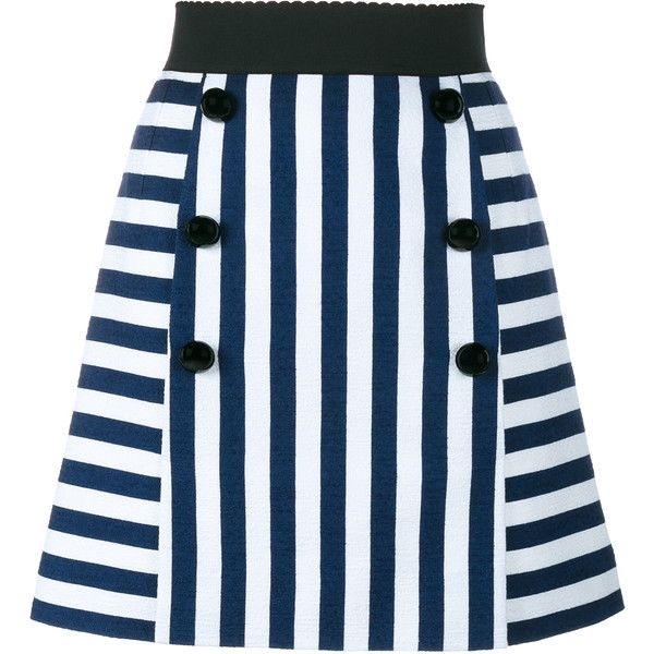 Dolce & Gabbana Stripe A-Line Mini Skirt ($651) ❤ liked on Polyvore featuring skirts, mini skirts, bottoms, a line skirt, mini skirt, striped skirt, short skirts and cotton mini skirt